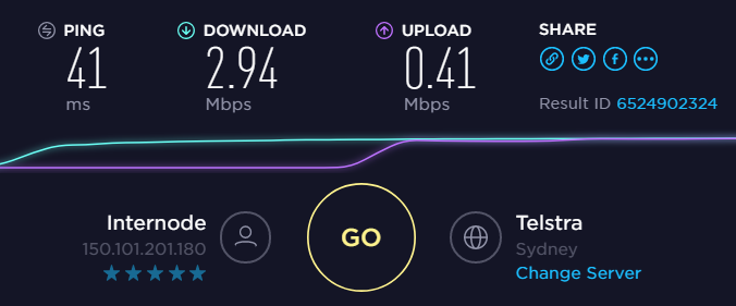 For reference - my ADSL connection speed
