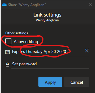Sharing Options: no editing, expiry, no password